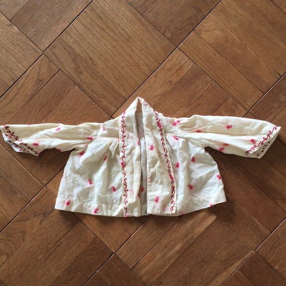Antique baby or doll jacket wool hand embroidered